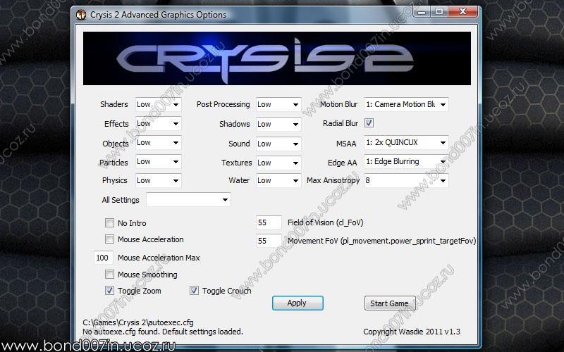как снизить графику в crysis 2